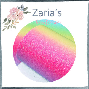 Brights Rainbow  ~ FINE GLITTER ~ Pink Purple Blue Green Yellow Faux Bow Leather