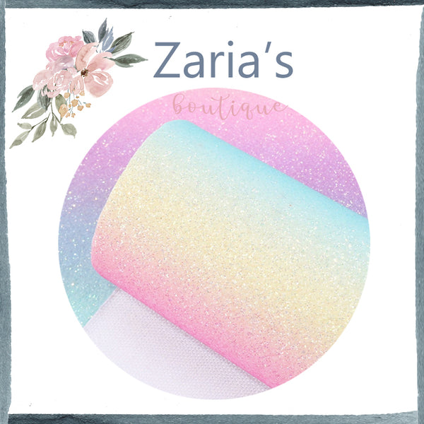 Brights Rainbow  ~ FINE GLITTER ~ Pink Purple Blue Faux Bow Leather