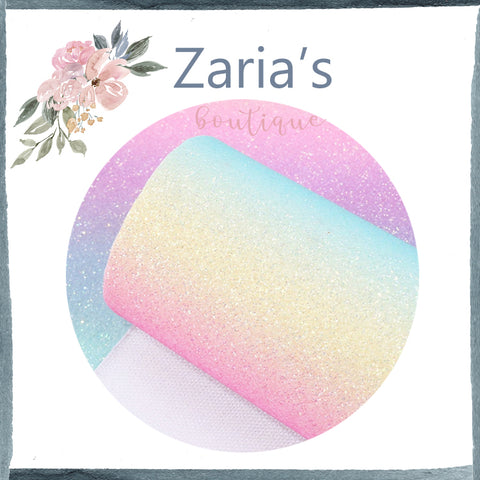 Pastel Rainbow  ~ FINE GLITTER ~ Pink Purple Blue Green Yellow Faux Bow Leather