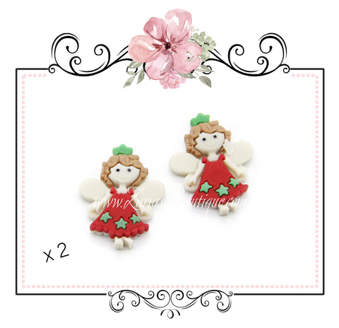 Red Green Christmas Fairy Bow Embellishment Resin Flatback  x 2