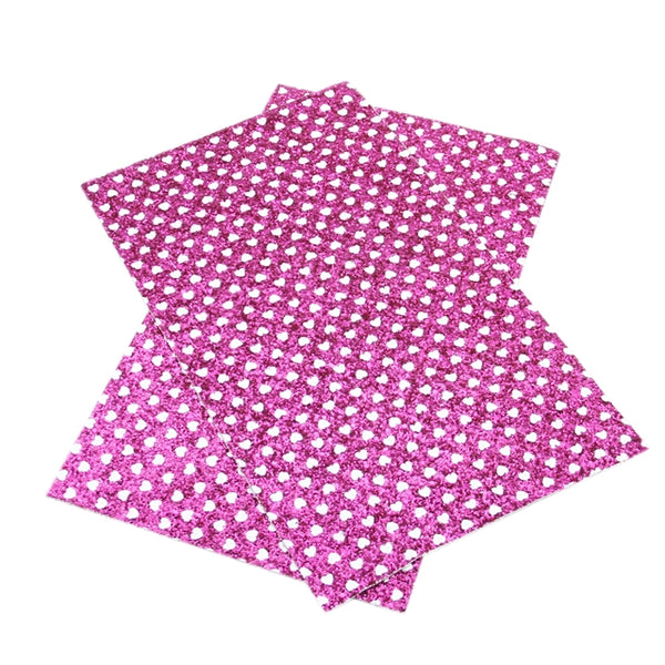 Jewel-Tone CHUNKY GLITTER ~ Hot Pink White Polka Dot HEARTS ~ 20 x 34cm