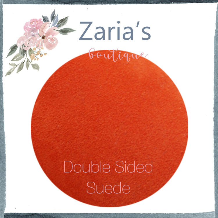 Luxe DOUBLE SIDED Suede Nubuck Faux Leather Sheets ~ Tangerine Orange