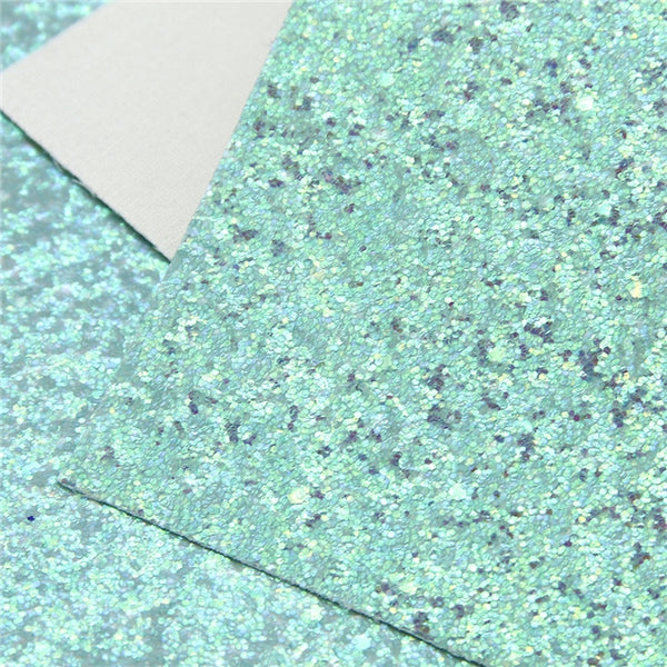 Northern Lights Neon Green ~ Medium Glitter Faux Leather Fabric Sheets