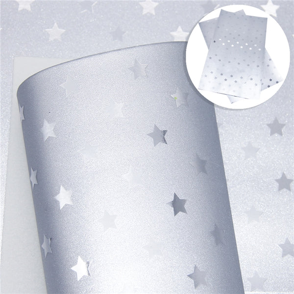 Metallic Silver Star Faux Leather Craft Bow Fabric
