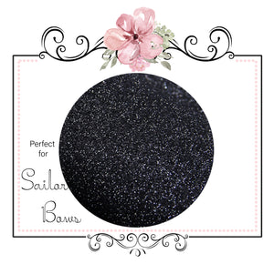 Black Sapphire ~ Soft Medium Glitter Sailor Bow Fabric Faux Leather Sheets