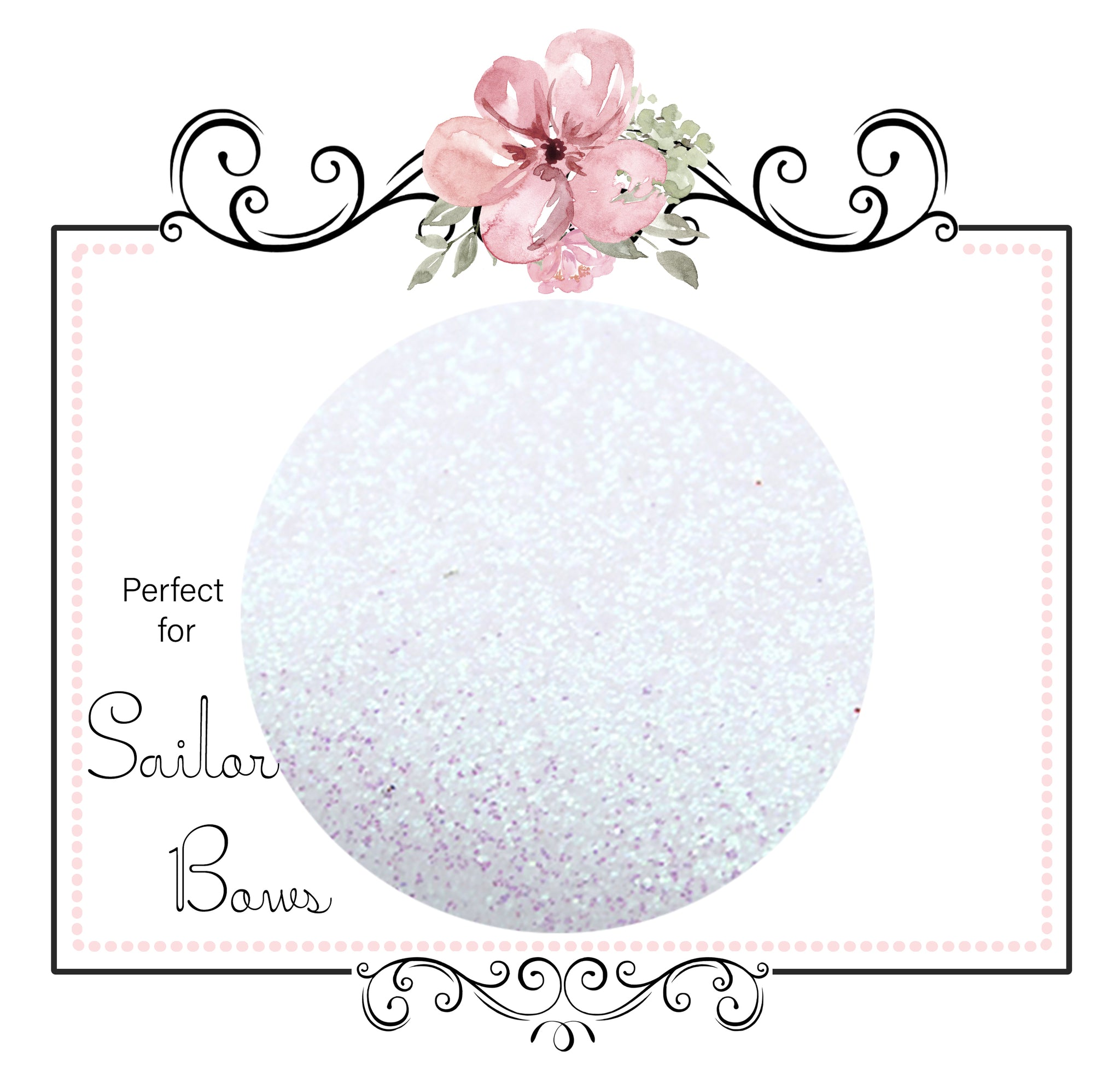 White Sapphire ~ Soft Medium Glitter Sailor Bow Fabric Faux Leather Sheets