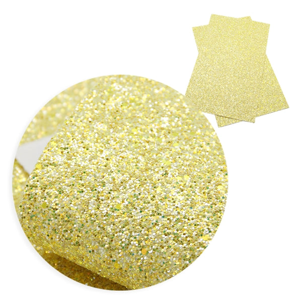 Sunshine Yellow ~ Chunky Glitter Faux Leather Wiggle Fabric Sheets