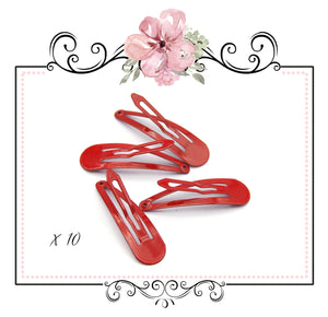 Pastel Snap Hair Clips ~ Red