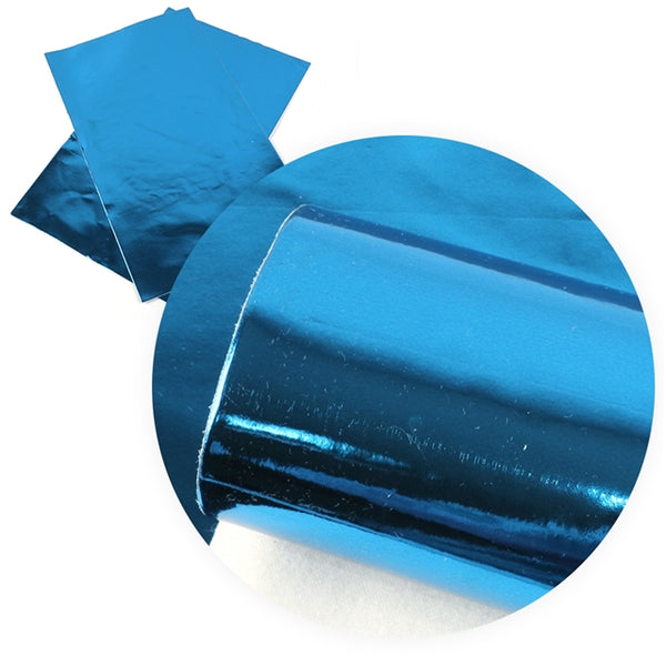 Metallic Shiny Mirror Electric Blue ~ Faux Leather Sheets