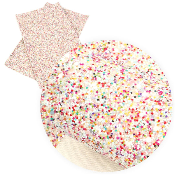 Sprinkles ~ White ~ CHUNKY ~ Glitter Faux Leather Fabric Sheets ~ Hundreds & Thousands