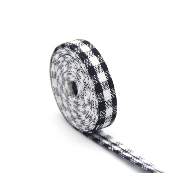 Black & White Gingham Plaid Ribbon Double-Sided Bias Tape ~  1cm wide ~ per yard