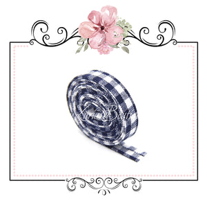 Navy & White Gingham Plaid Ribbon Double Sided Bias Tape ~  1cm wide ~ per yard