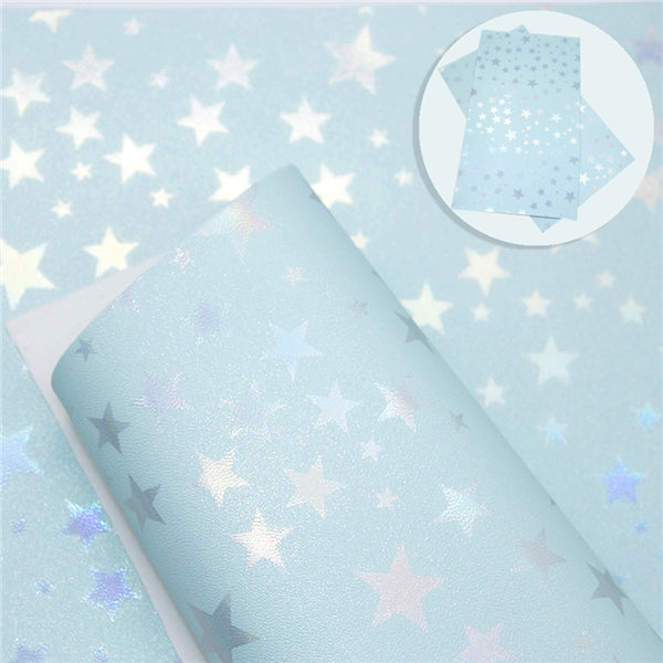Metallic Pearl Stars ~ Blue ~ Bow Making ~ Craft Fabric Sheets