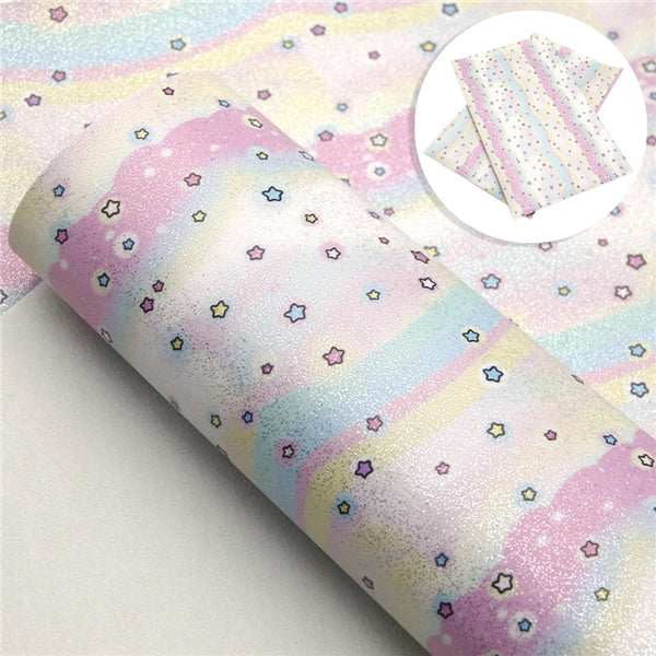 Gelato Star Swirl Smooth Glossy Glitter Hair Bow Craft Sheets ~ 0.59mm