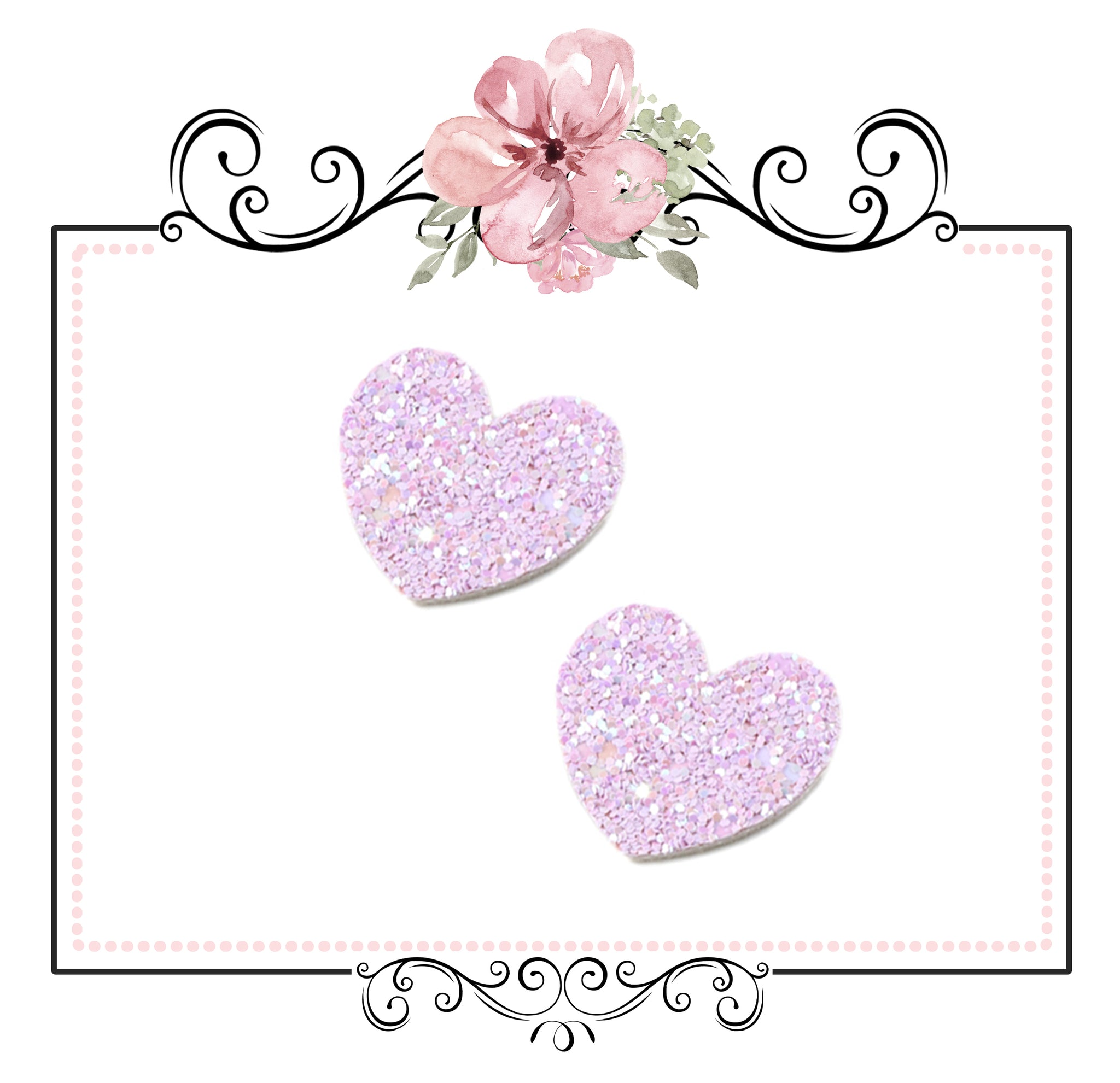 5 x Chunky Glitter Heart Embellishment ~ Purple