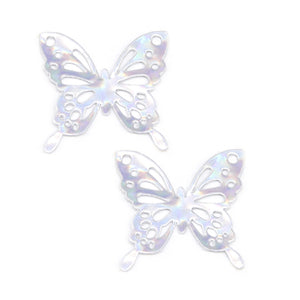 Faux Leather Butterfly Embellishment Applique Bow Centres