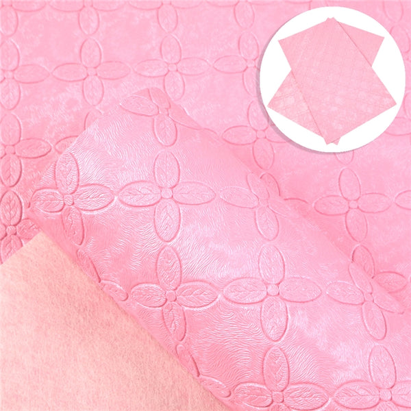 SALE. Pink Pearl Embossed Textured Floral Faux Leather ~ 0.96mm