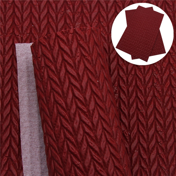 Cable Knit Textured Dark Red Faux Leather ~ 1.95mm