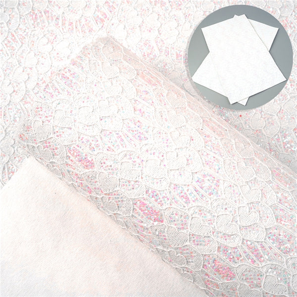 White AB Glitter Lace ~ Faux Leather Craft Fabric