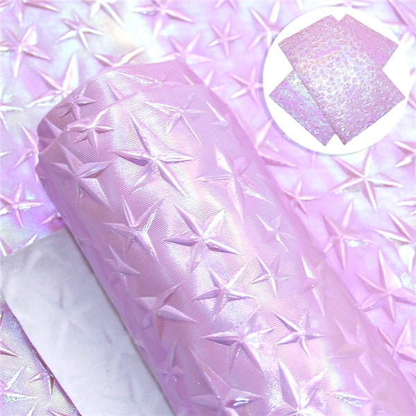 Pink Pearl Textured Star Faux Leather Craft Fabric Sheets