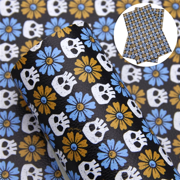Skulls & Flowers ~ Halloween ~ Luxe Grain Faux Leather Bow Fabric Sheets