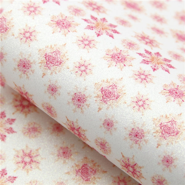 Christmas Collection ~ Pink White Snowflakes Fine Glitter Sheets