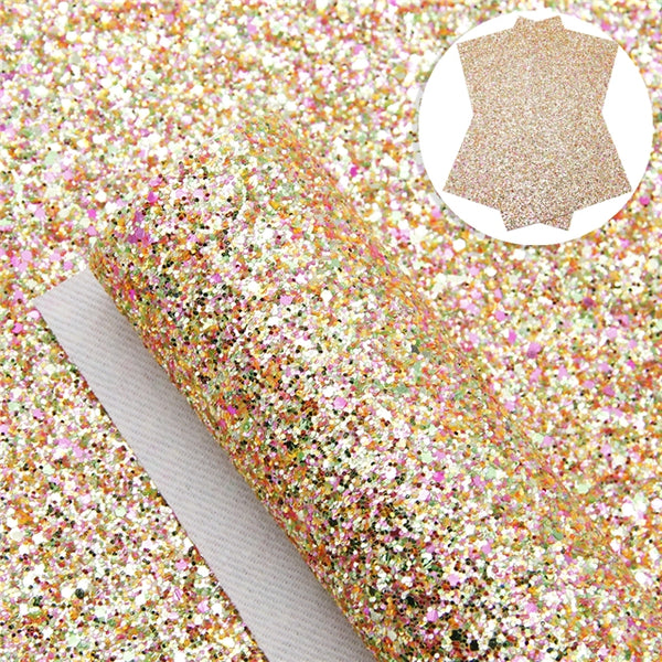 Sparkle Tropical ~ 20 x 34cm ~ Orange Pink Green Chunky Glitter Faux Leather Fabric Sheets