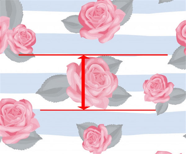 Blue & White Stripe Pink Rose Floral Luxe Grain Ethical Vegan Faux Leather