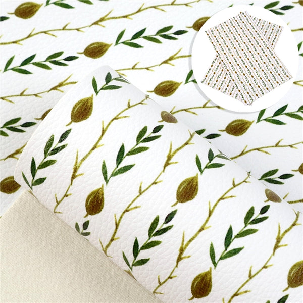 Olive Leaf Vine ~ Luxe Grain Faux Leather ~ Floral Leatherette Sheets