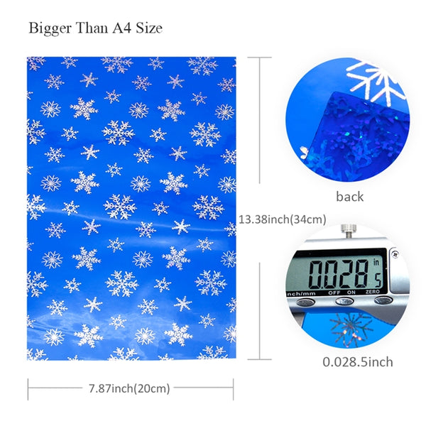 Transparent Hologram Snowflakes ~ Frozen Blue & Silver ~ Bow Making ~ Craft Fabric Sheets