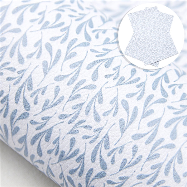 French Blue Leaves ~ Floral Vegan Faux Leather