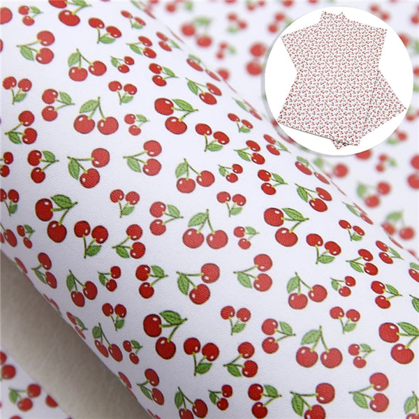 Red Cherries ~ Smooth Faux Leather Cherry Craft Fabric Sheets