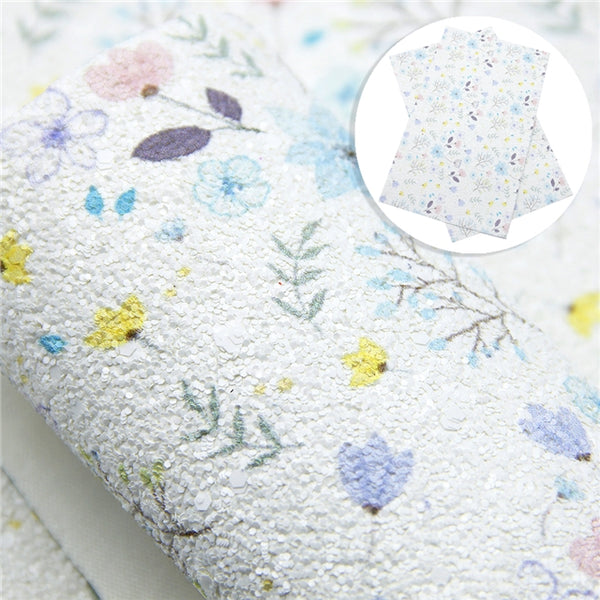 Chunky Glitter Floral ~ White Blue Yellow Canvas Craft Fabric Sheets