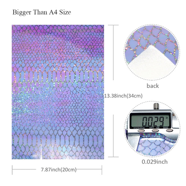 Snake Skin ~ Purple, White Or Pink Holographic ~ Faux Leather