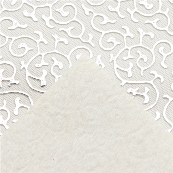 Silver Swirls ~ Textured & Embossed Faux Leather ~ 0.74mm