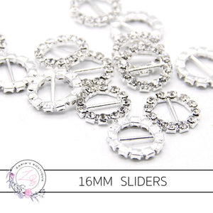 Round Metal Rhinestone Ribbon Sliders Bow Embellishment x 5 pieces