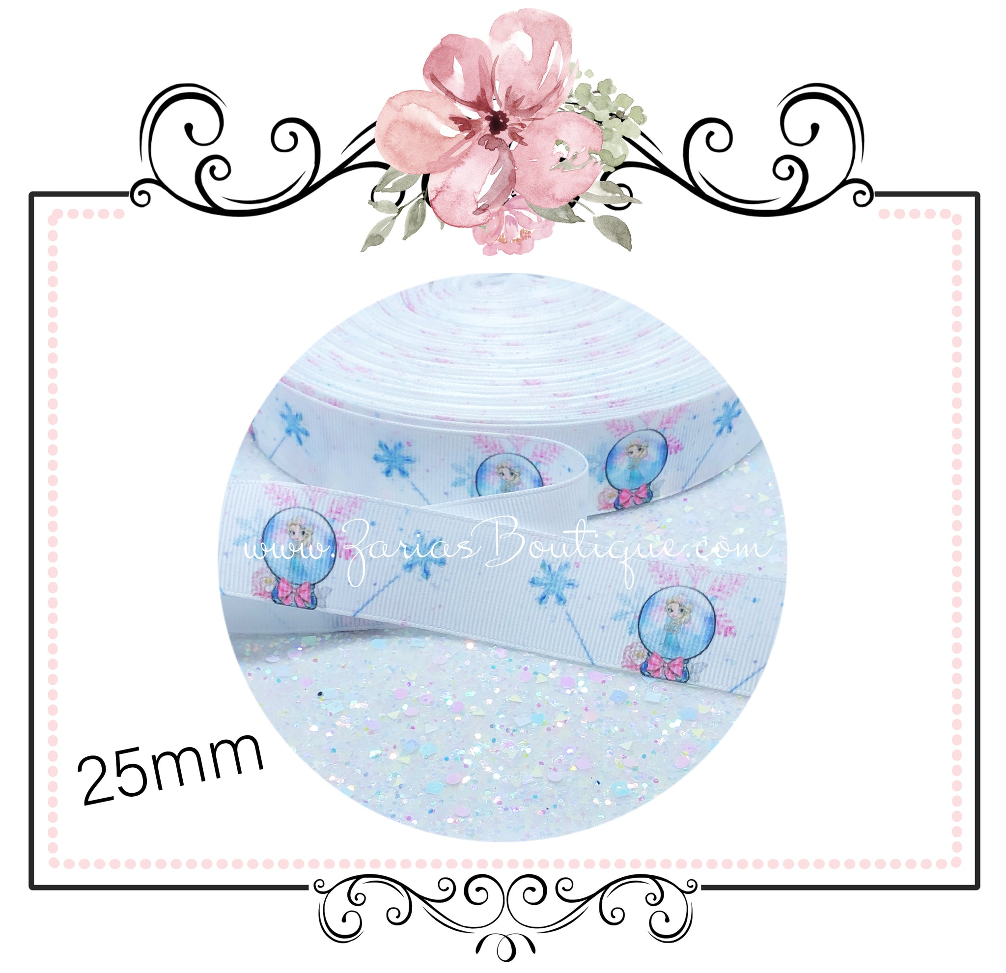EXCLUSIVE to Zaria's Boutique ~ Frozen Snowflake Collection ~ Grosgrain Ribbon 25mm