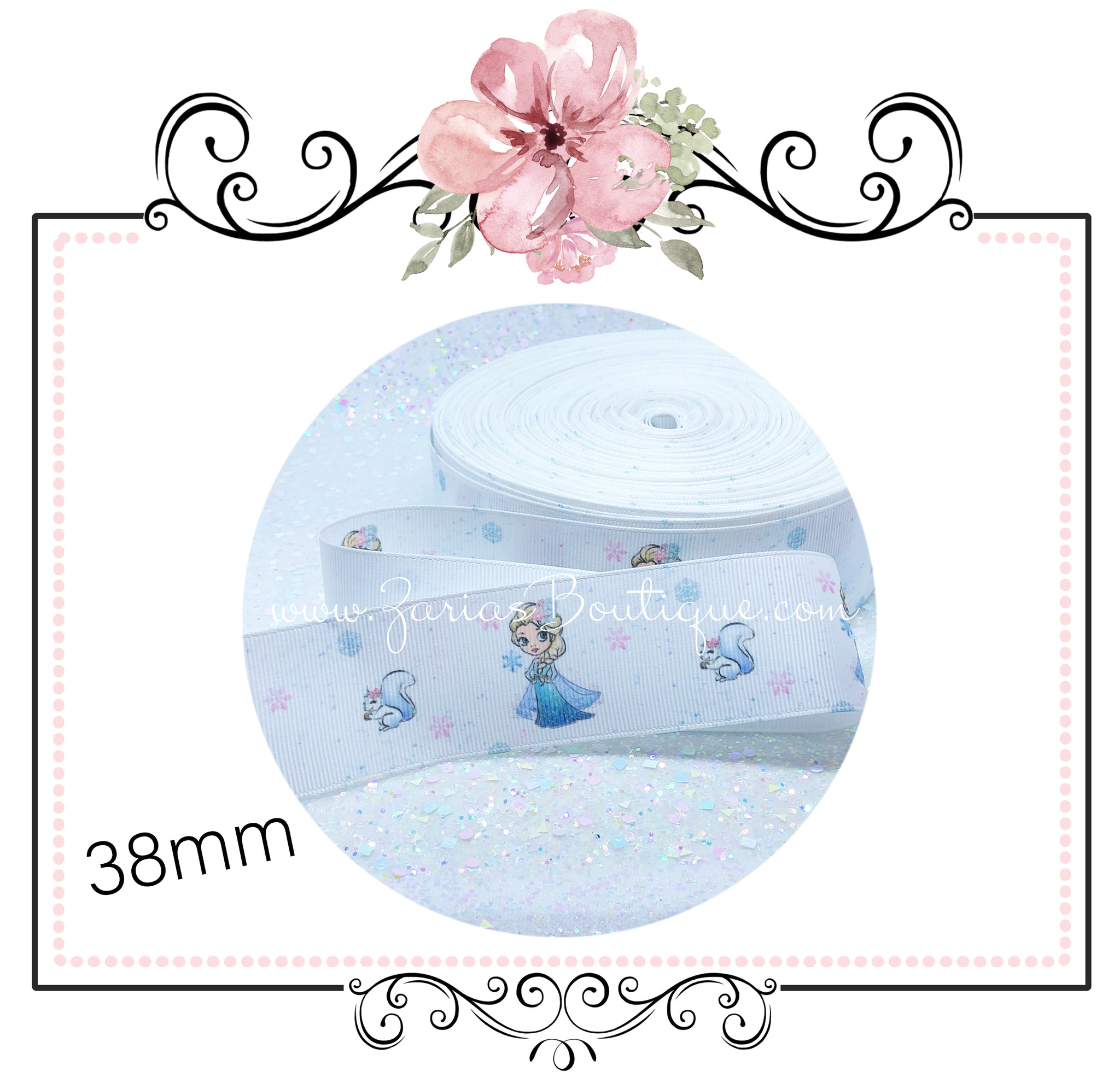 EXCLUSIVE to Zaria's Boutique ~ Frozen Snowflake Collection ~ Grosgrain Ribbon 38mm