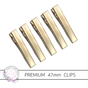 PREMIUM GOLD 47mm Alligator Hair Clips
