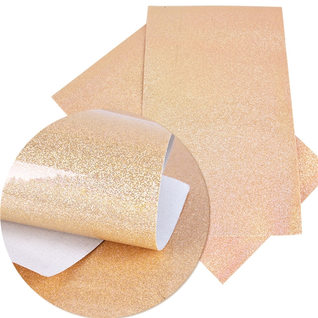 Smooth Shiny Glitter Faux Leather ~ Light Orange