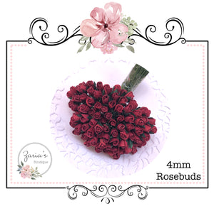 Mulberry Paper Flower ~ Micro Dark Red Rosebud ~ 4mm x 10 pieces