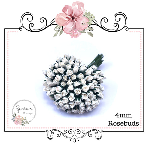 Mulberry Paper Flower ~ Micro Ivory Rosebud ~ 4mm x 10 pieces