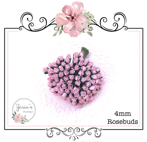 Mulberry Paper Flower ~ Micro Lilac Rosebud ~ 4mm x 10 pieces