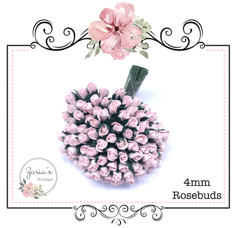 Mulberry Paper Flower ~ Micro Pale Pink Rosebud ~ 4mm x 10 pieces