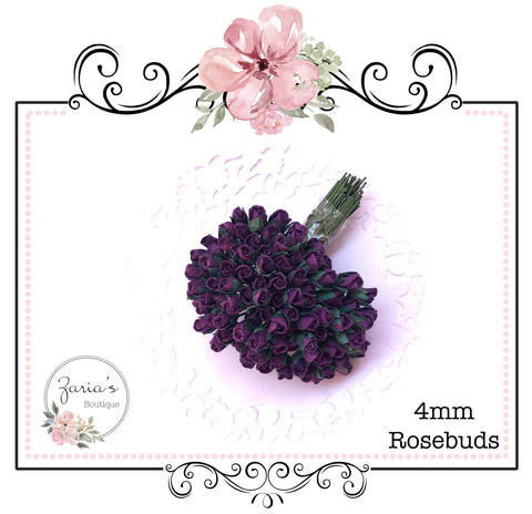 Mulberry Paper Flower ~ Micro Dark Purple Rosebud ~ 4mm x 10 pieces