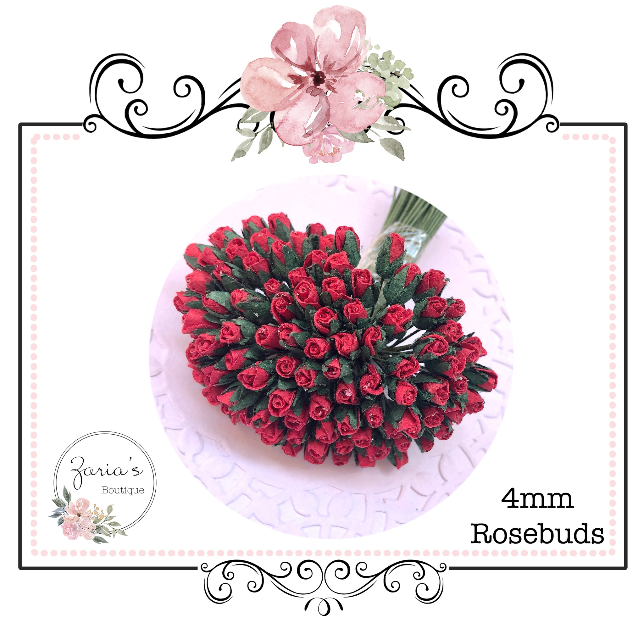 Mulberry Paper Flower ~ Micro Red Rosebud ~ 4mm x 10 pieces