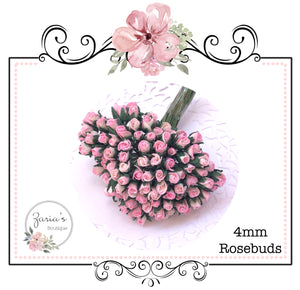 Mulberry Paper Flower ~ Micro Two-Tone Baby Pink/Ivory Rosebud ~ 4mm x 10 pieces