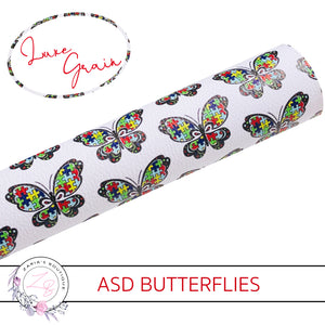 ASD Awareness Butterfly Jigsaw Puzzle Piece Vegan Faux Leather