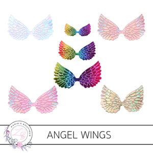 Angel Wings  • Metallic  Embossed Faux Leather Embellishments • 5 Colours • 2 Pieces