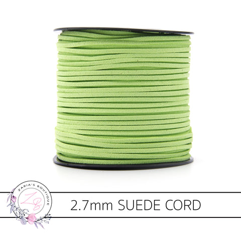 Faux Suede Cord ~ 2.7mm ~ Apple Green ~ 5 Metres